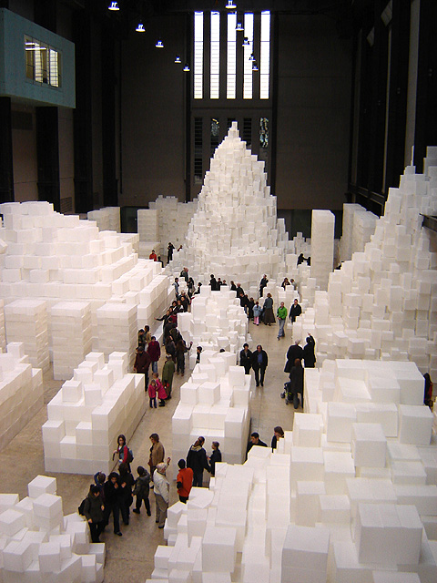 White boxes form the shape of embankment