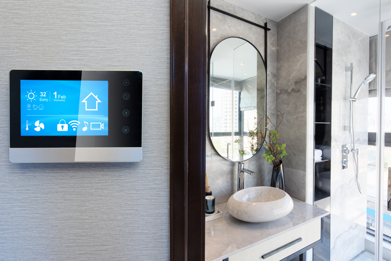 screen controlling smart bathroom in a smart home