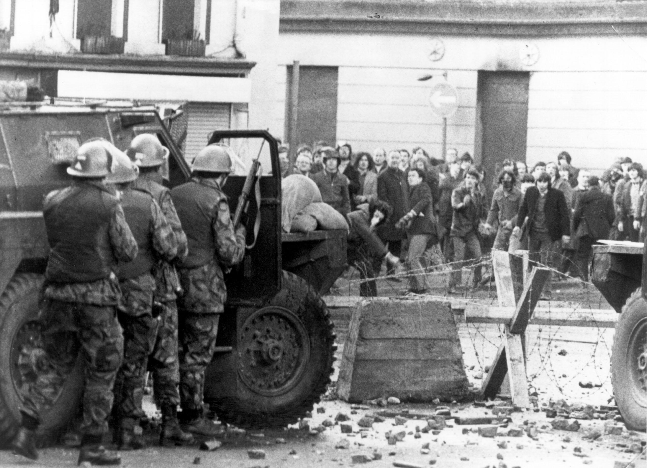 In the streets during Bloody Sunday, when paratroopers opened fire on rioting Catholics in Londonderry, killing 13 people