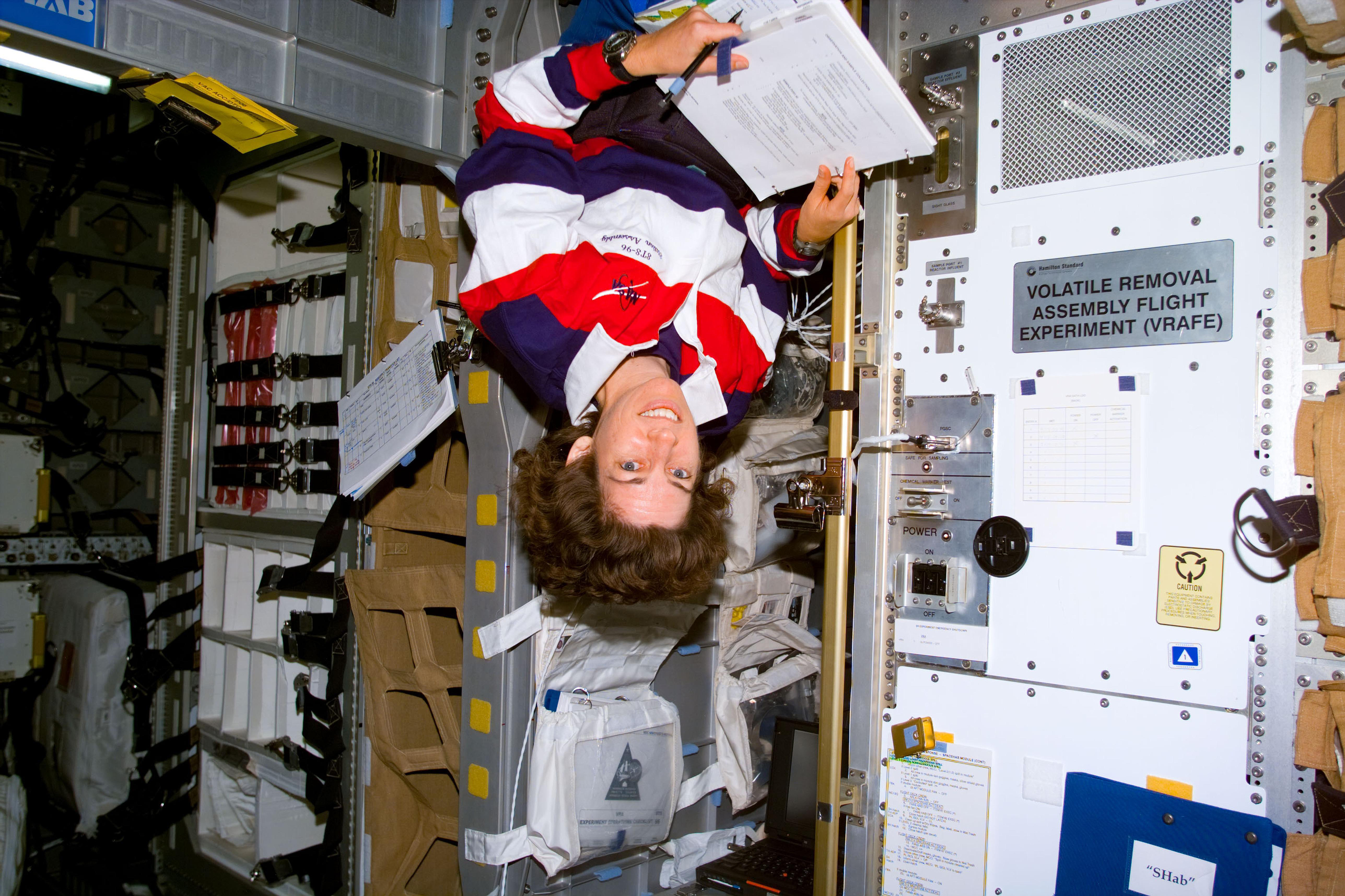 Ellen Ochoa floating in space