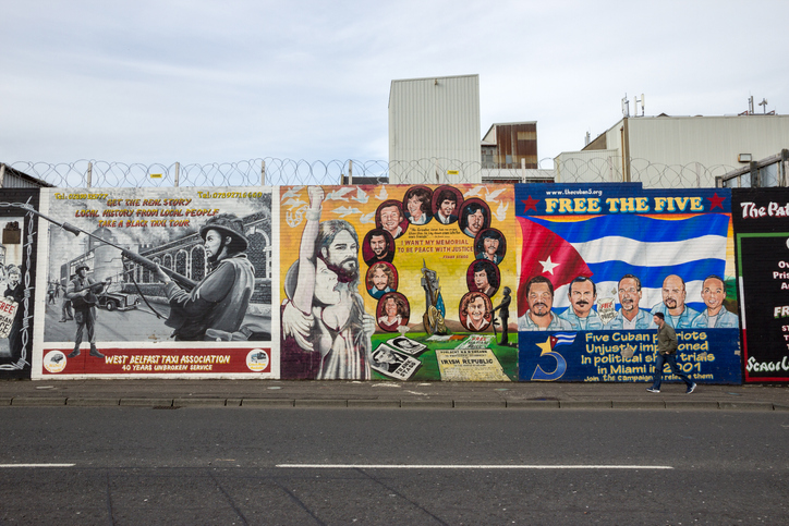 Political mural in Belfast, Northern Ireland. Falls Road is famous for its political murals.