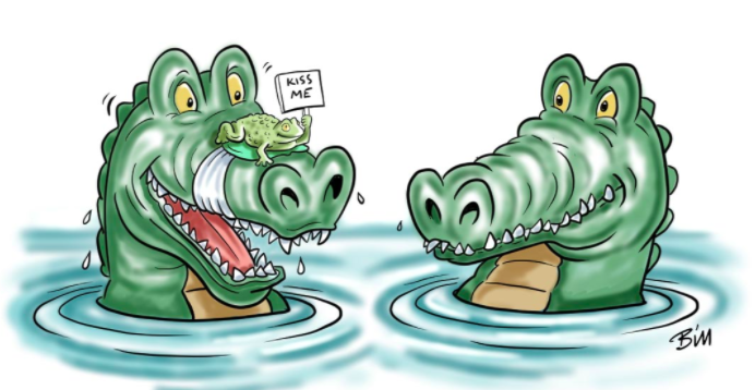 beat the cartoonist two alligators with a frog on one nose