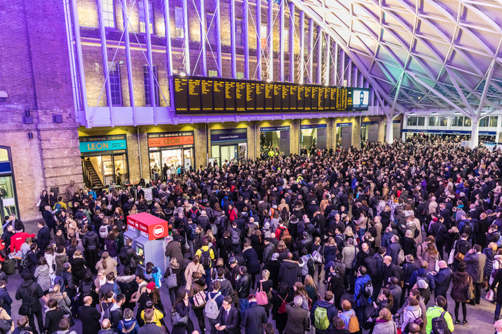 a busy Kings Cross station