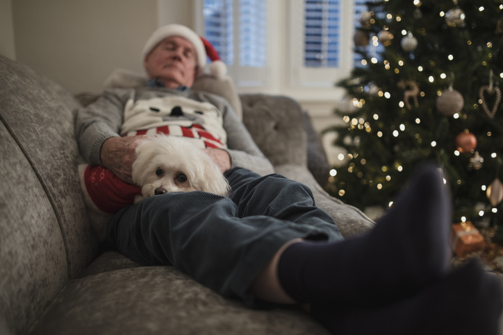 dementia patient resting in a quiet room at christmas