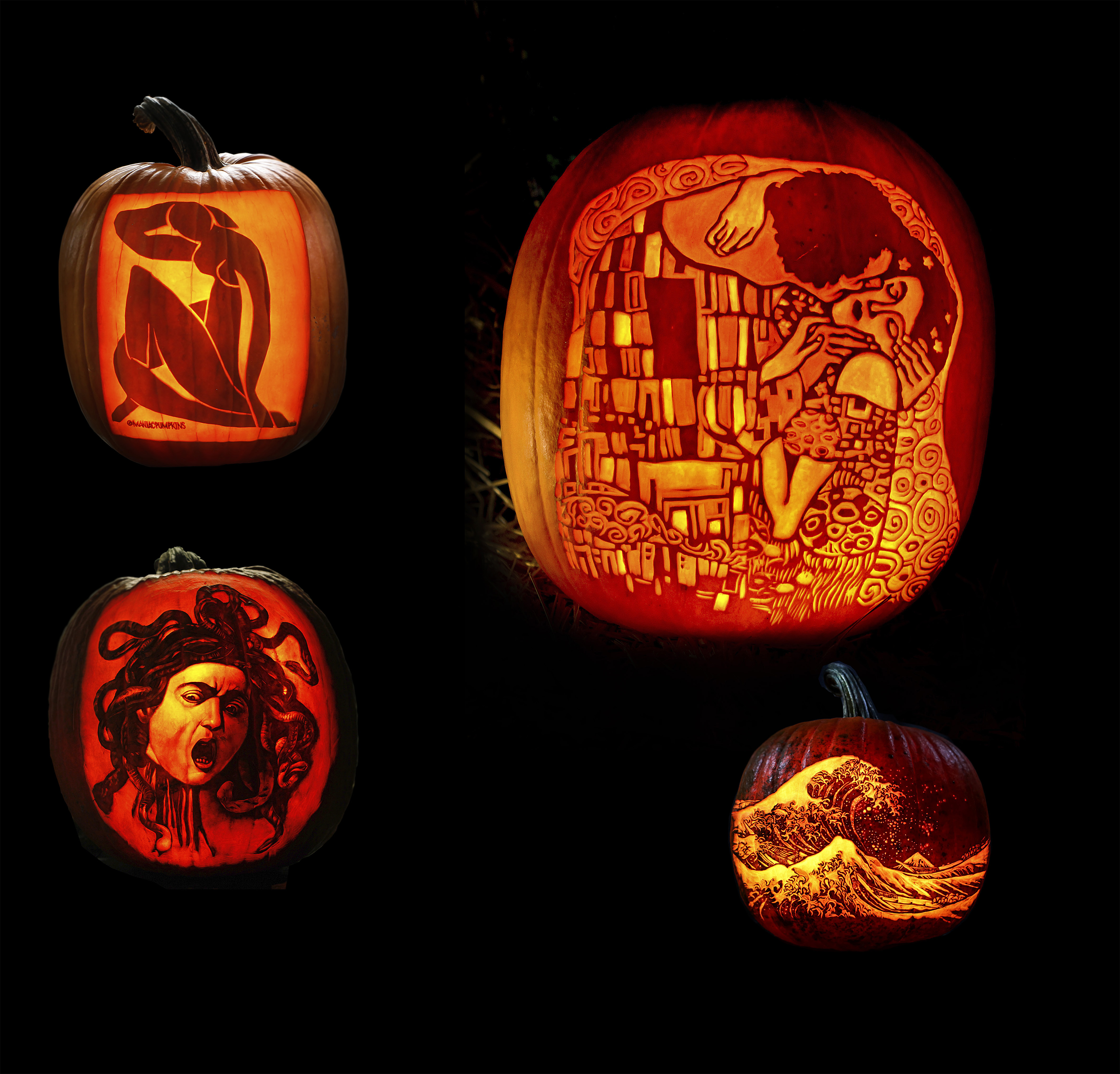 pumpkins carved to look like various famous paintings