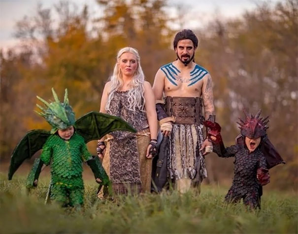 a family dressed as game of thrones characters