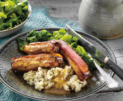 Mouthwatering pork belly, mustard mash and greens