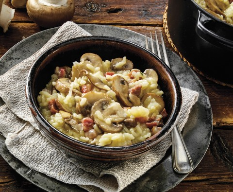 Mushroom, thyme and pancetta risotto recipe
