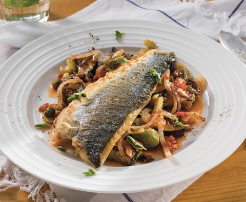 Delicious caponata and sea bass stew