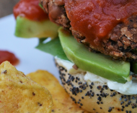 Homemade veggie bean burger