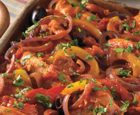 Spanish style chicken with chorizo, peppers, and olives