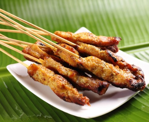 Authentic chicken satay sticks