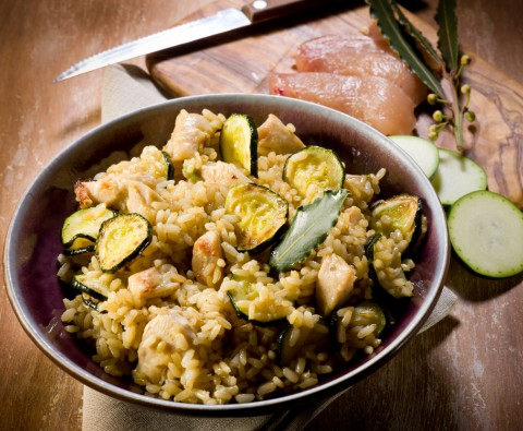 Chicken, pancetta and courgette risotto