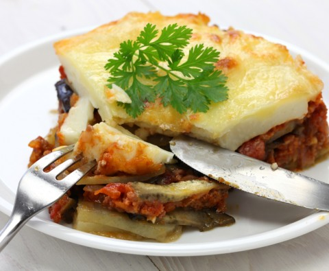 Mediterranean moussaka with beef and aubergine