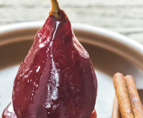 Easy dessert recipe: Pears poached in mulled wine