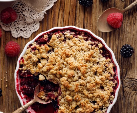 Spiced plum crumble recipe