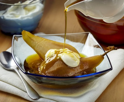 Tea-poached pears recipe