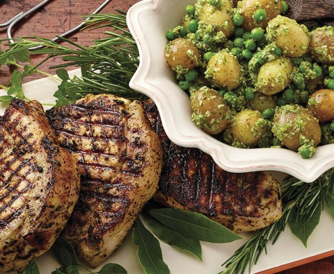 Herby pork, potato and peas recipe