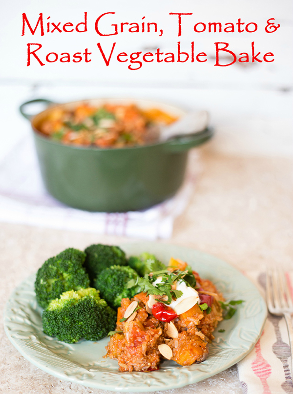 Tomato rice and quinoa bake with roasted vegetables