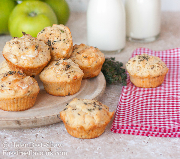 Bramley goat's cheese and thyme muffins