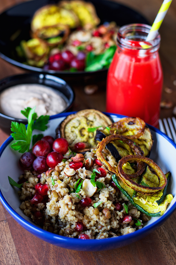 Cous cous lentil pilaf with hazelnut blood orange dip