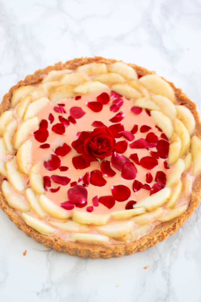Rose curd and white peach tart