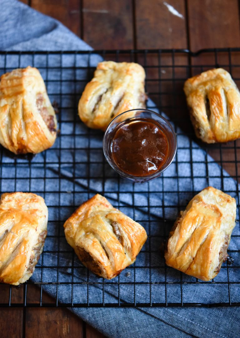 Pork and garlic sausage rolls