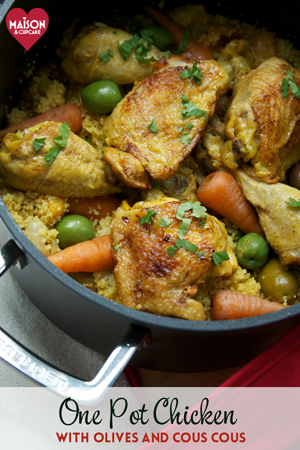 One pot chicken casserole with cous cous and olives