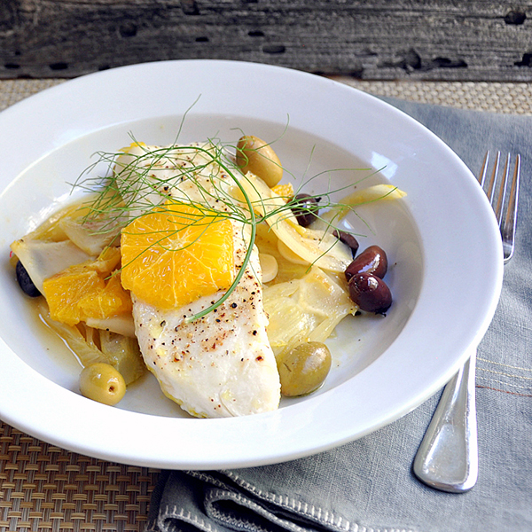 Roasted Halibut with fennel, oranges and olives
