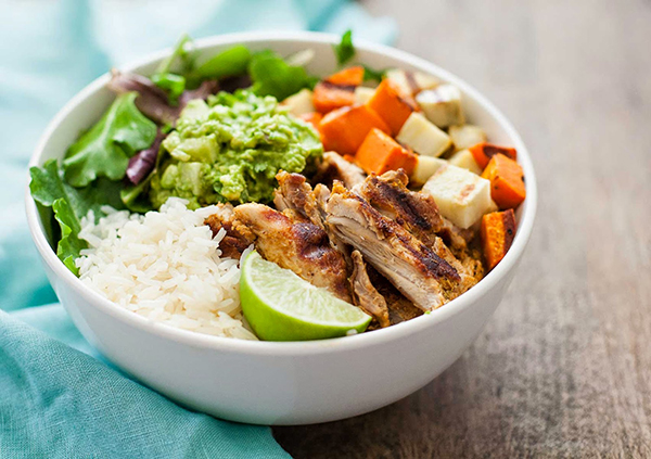Chicken and sweet potato bowl with jicama