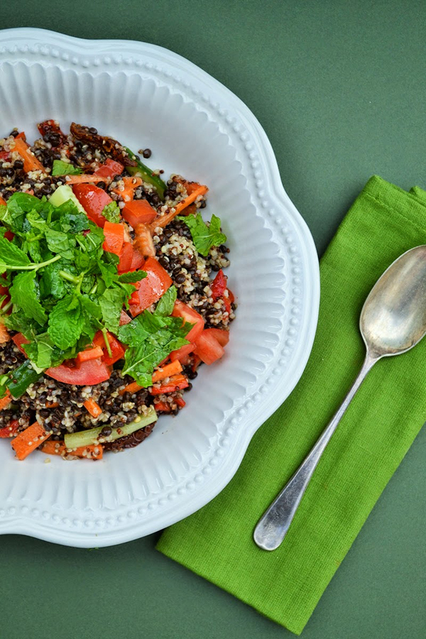 Bulgar, cous cous and puy lentil salad