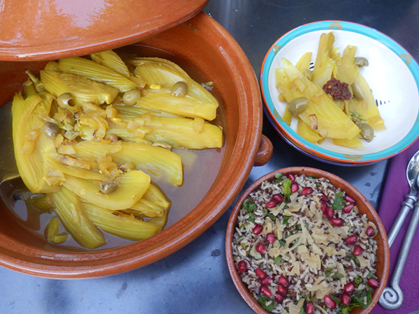 Fennel and olive tagine with grains