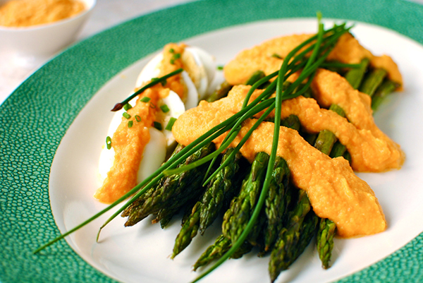Roasted asparagus with carrot miso dressing