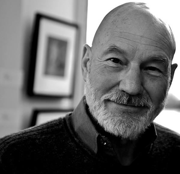 Patrick Stewart pulls off bald and a beard