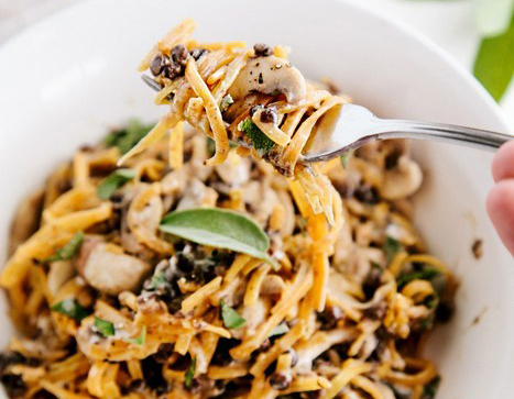 Butternut squash noodles with creamy garlic mushrooms and lentils