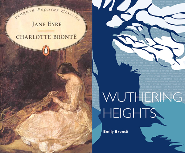 Jane Eyre and Wuthering Heights book covers