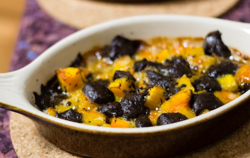 Butternut squash, black garlic and blue cheese bake