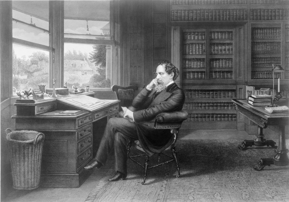 Charles Dickens (1812-1870) in his study at Gad's Hill Place. HIV AIDS