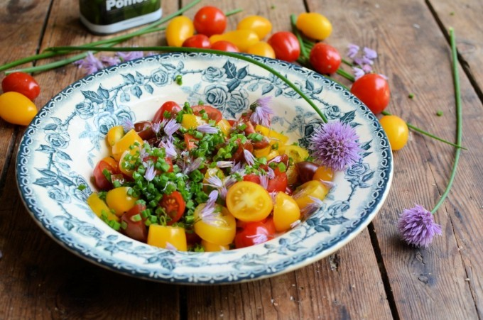 Heirloom tomato and chive flower salad