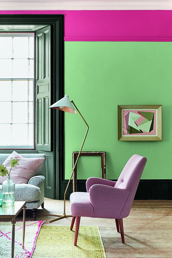 wall painted in pea green 91 highlight strip in leather 191 both. Black Bedroom Furniture Sets. Home Design Ideas