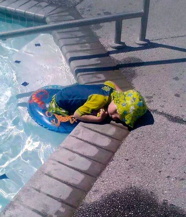 napping in the pool