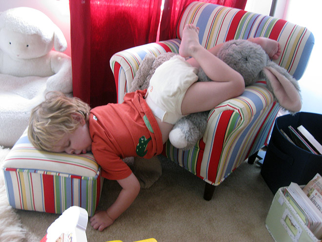 sofa sleeping child