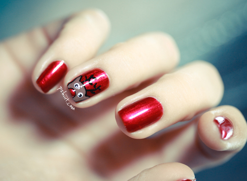 Rudolph nails manicure DIY simple