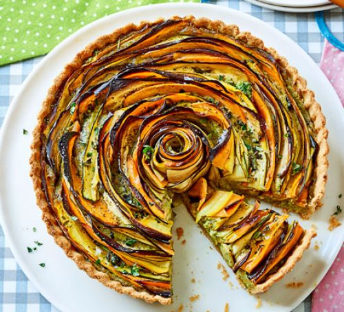 summer vegetable and pesto rose tart recipe