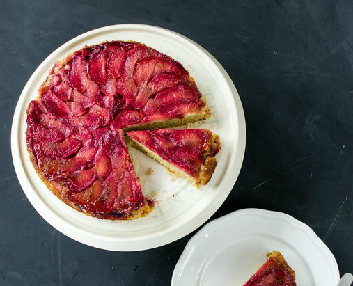rice plum and polenta upside down cake