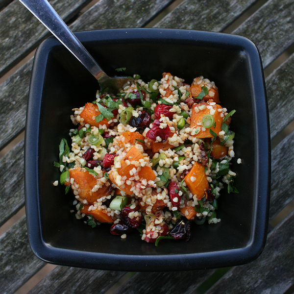Butternut squash cranberry and bulgar salad