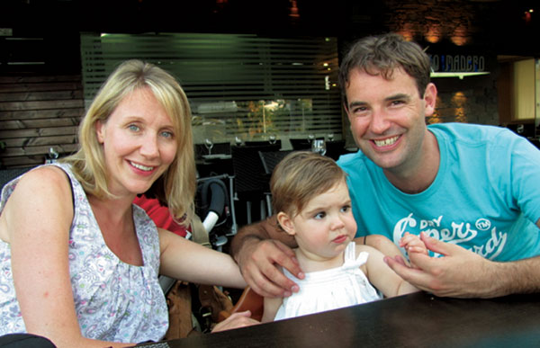 Coping with loss: Nicola Campbell with husband Colin and daughter Evie