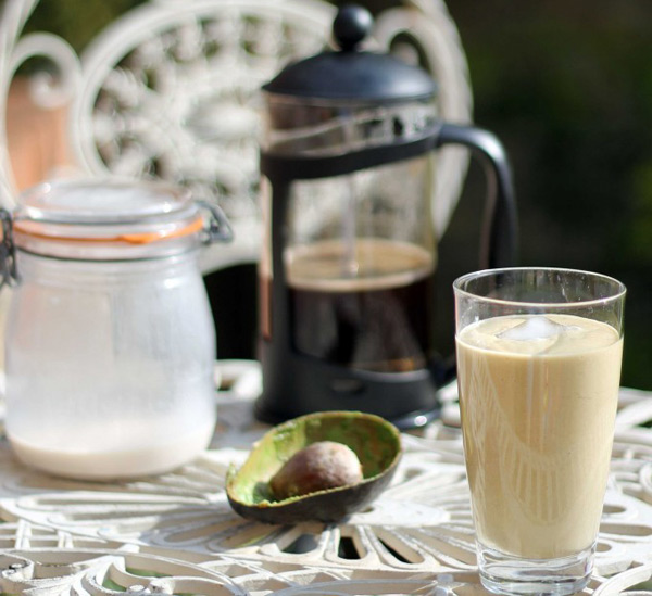 avocado, hazelnut and coffee smoothie