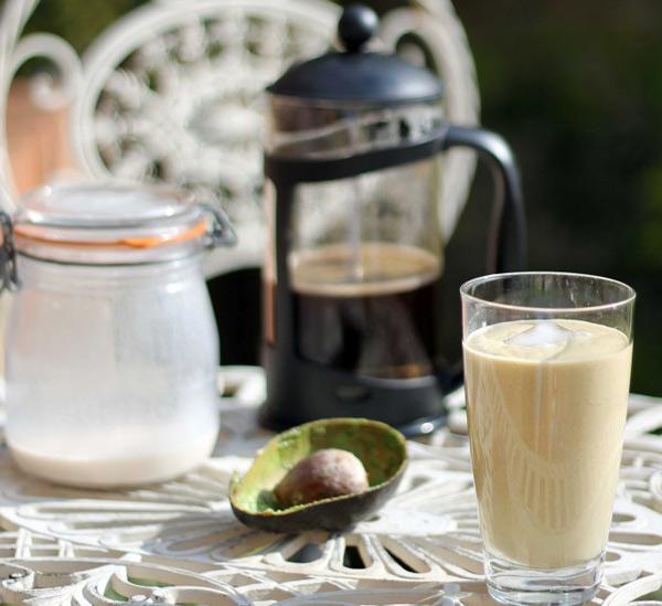 avocado, hazelnut and coffee smoothie