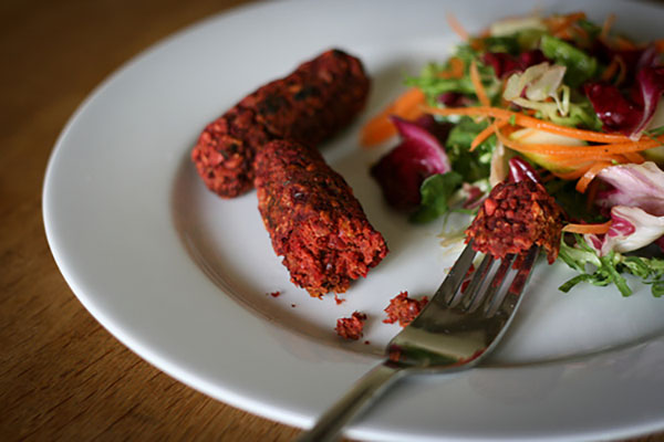 Beetroot and Walnut Sausages
